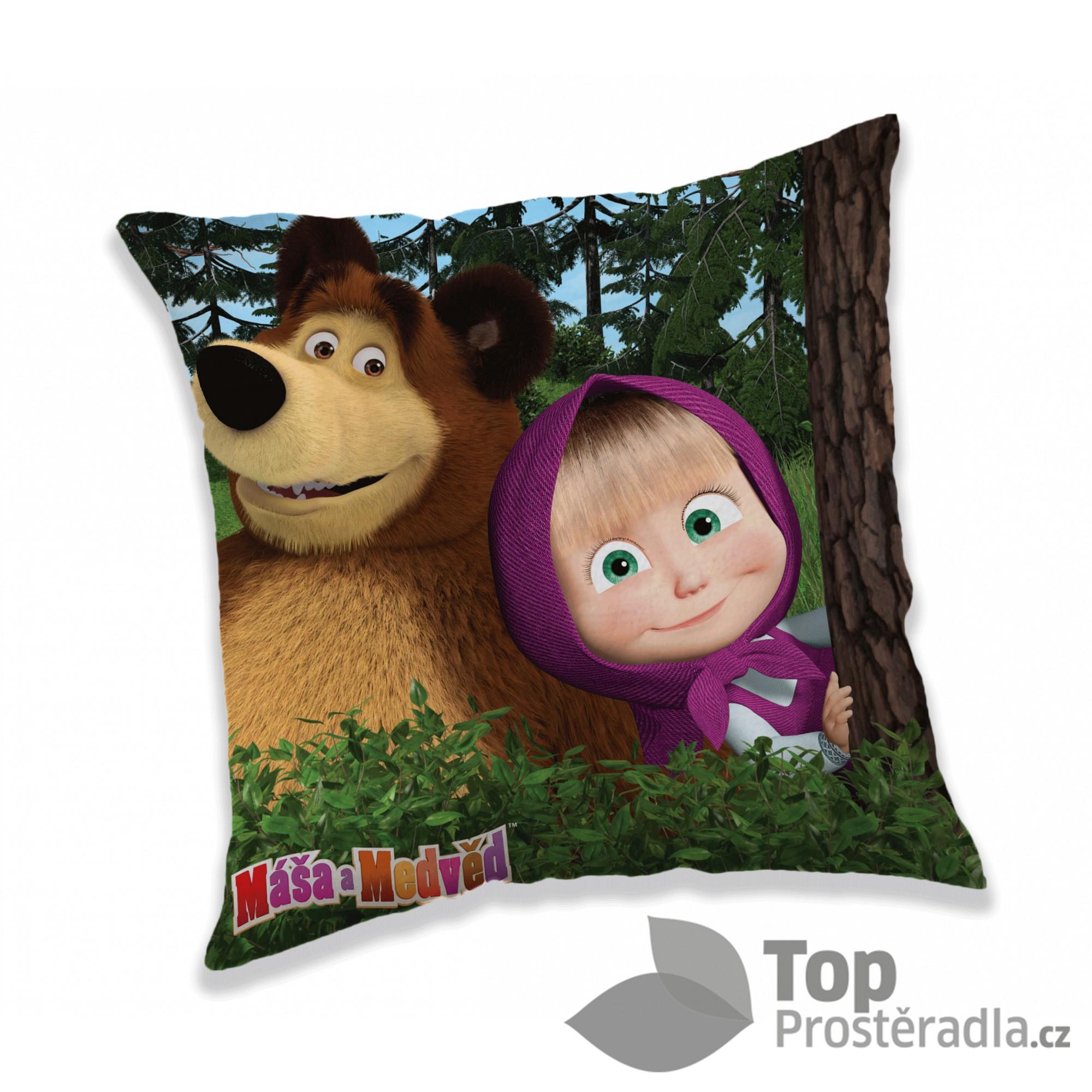 Dekorační polštářek 40x40 cm - Máša a Medvěd