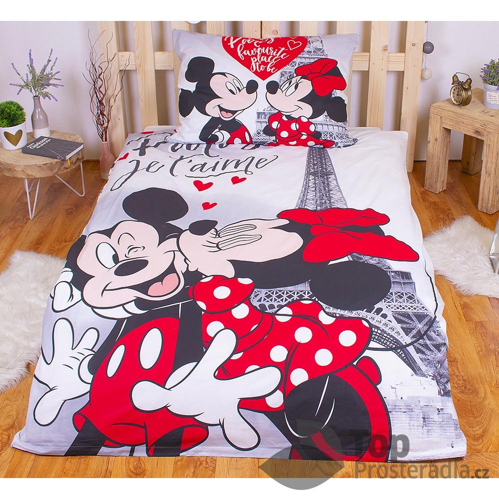 Bavlněné povlečení 140x200 70x90 Mickey & Minnie Je T'aime paris