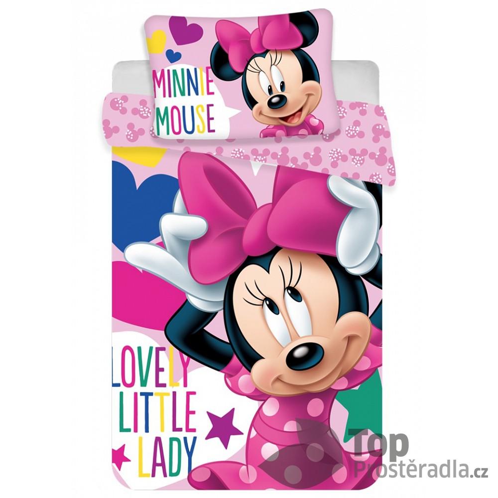 Fotografie Jerry Fabrics Disney povlečení do postýlky Minnie baby 100x135, 40x60 cm