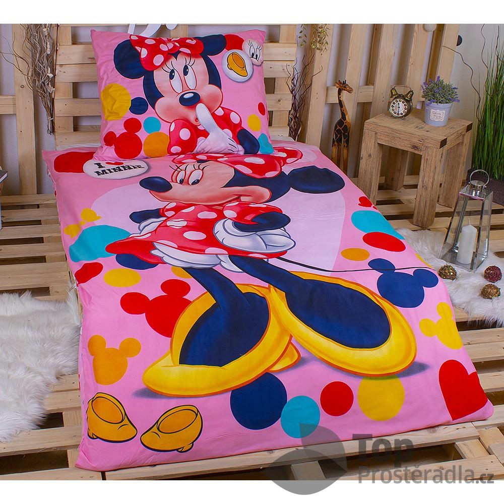 Dětské povlečení z mikrovlákna I love Minnie 140x200+70x90