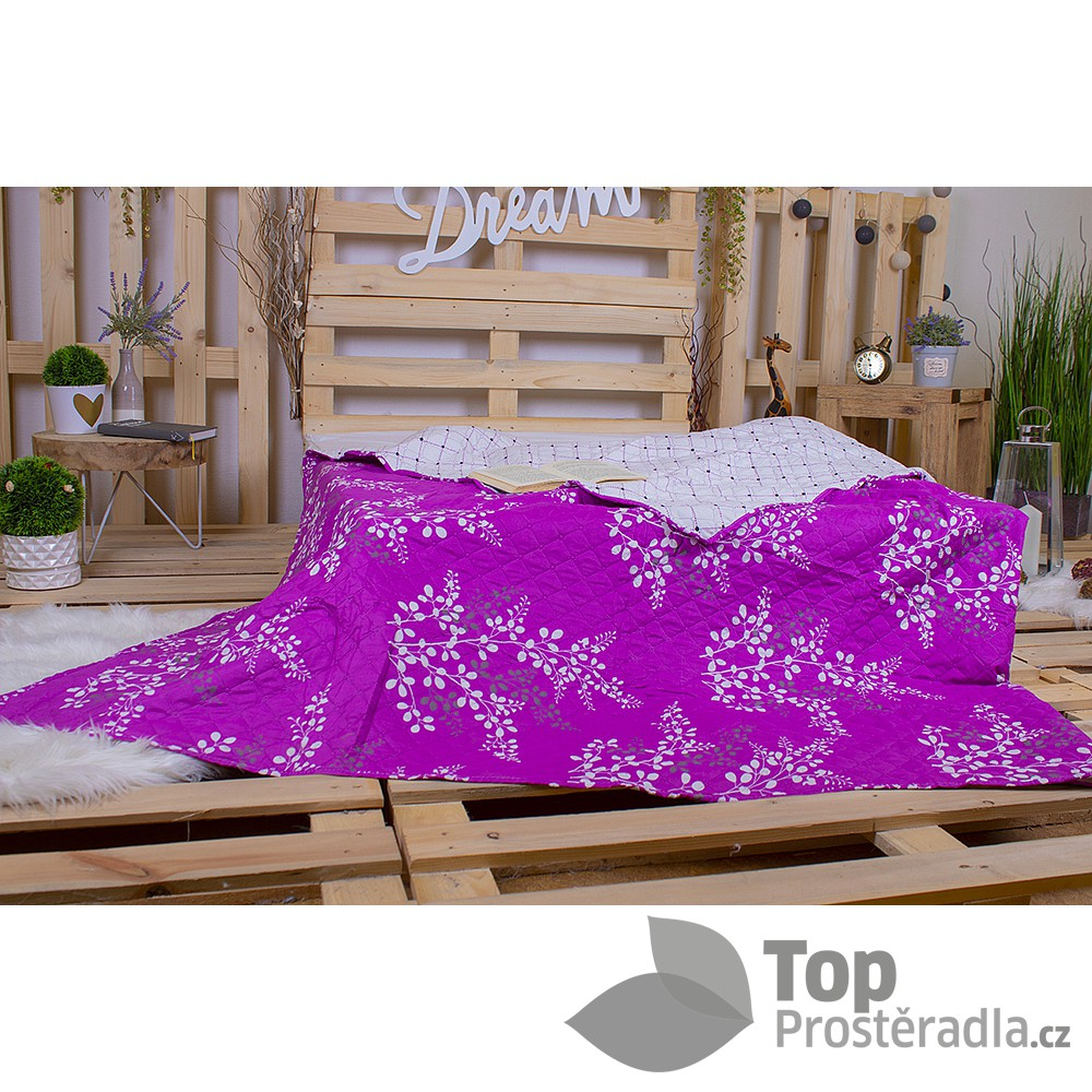 TOP Prošívaný dekorační přehoz 240x260 Calluna větvička fialová