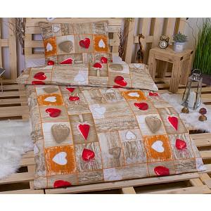 Bavlněné povlečení 140x200+70x90 - Romantika červená