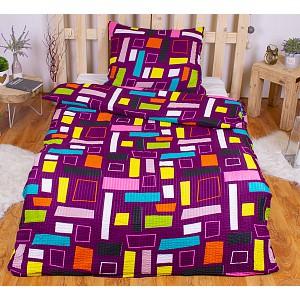Krepové povlečení ECONOMY 140x200+70x90 - Barevný tetris