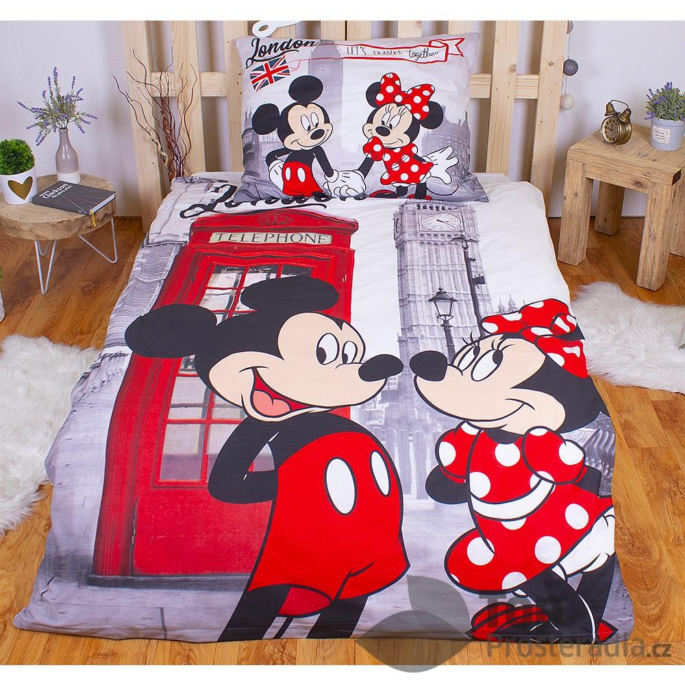 Bavlněné povlečení 140x200 70x90 Mickey & Minnie in London Telephone