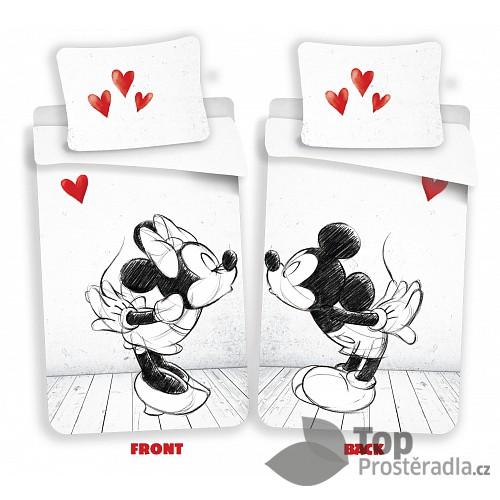 Bavlněné povlečení 140x200 70x90 Mickey & Minnie kreslená láska