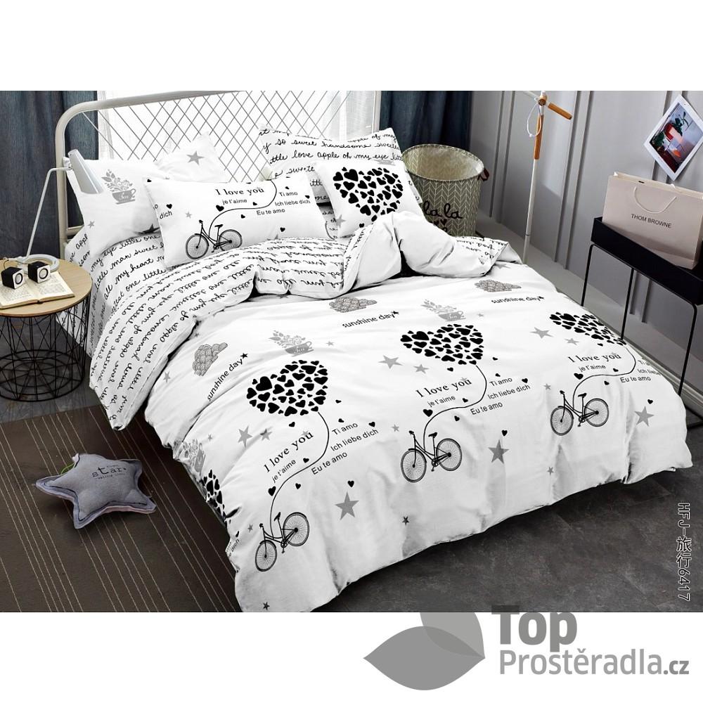 TOP Francouské povlečení Home Fashion 220x200+2x70x90 Words of love