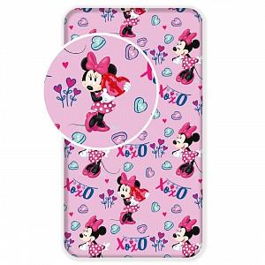 Dětské bavlněné prostěradlo 90x200 Minnie Pink XOXO