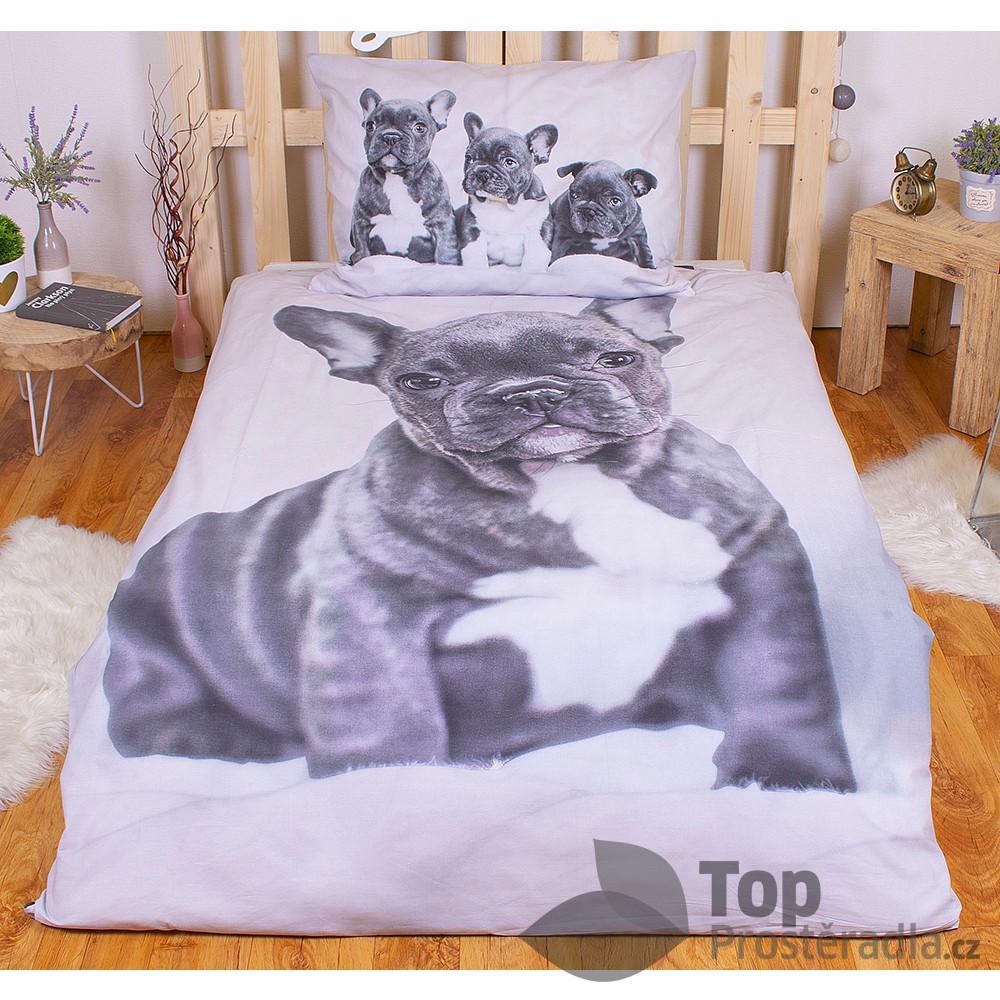 TOP Bavlněné povlečení 140x200+70x90 Bulldog