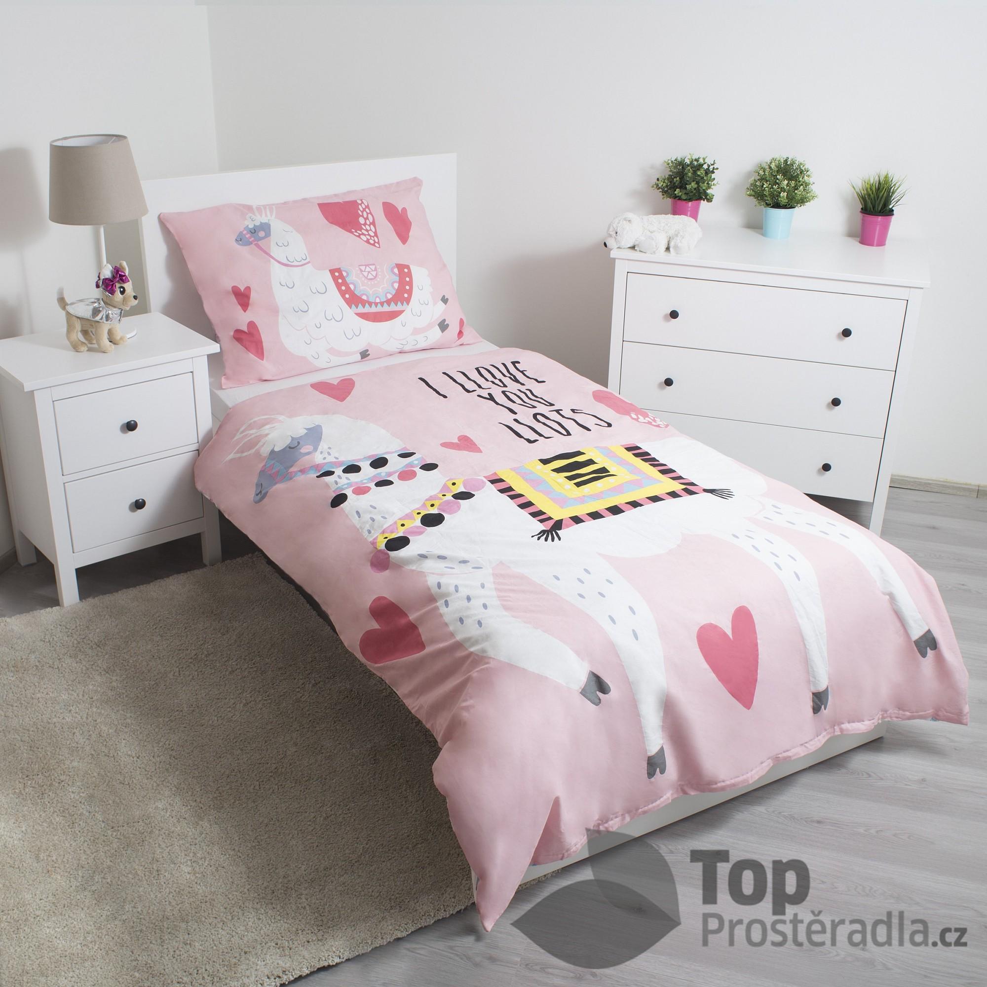 TOP Bavlněné povlečení 140x200+70x90 Lama Pink