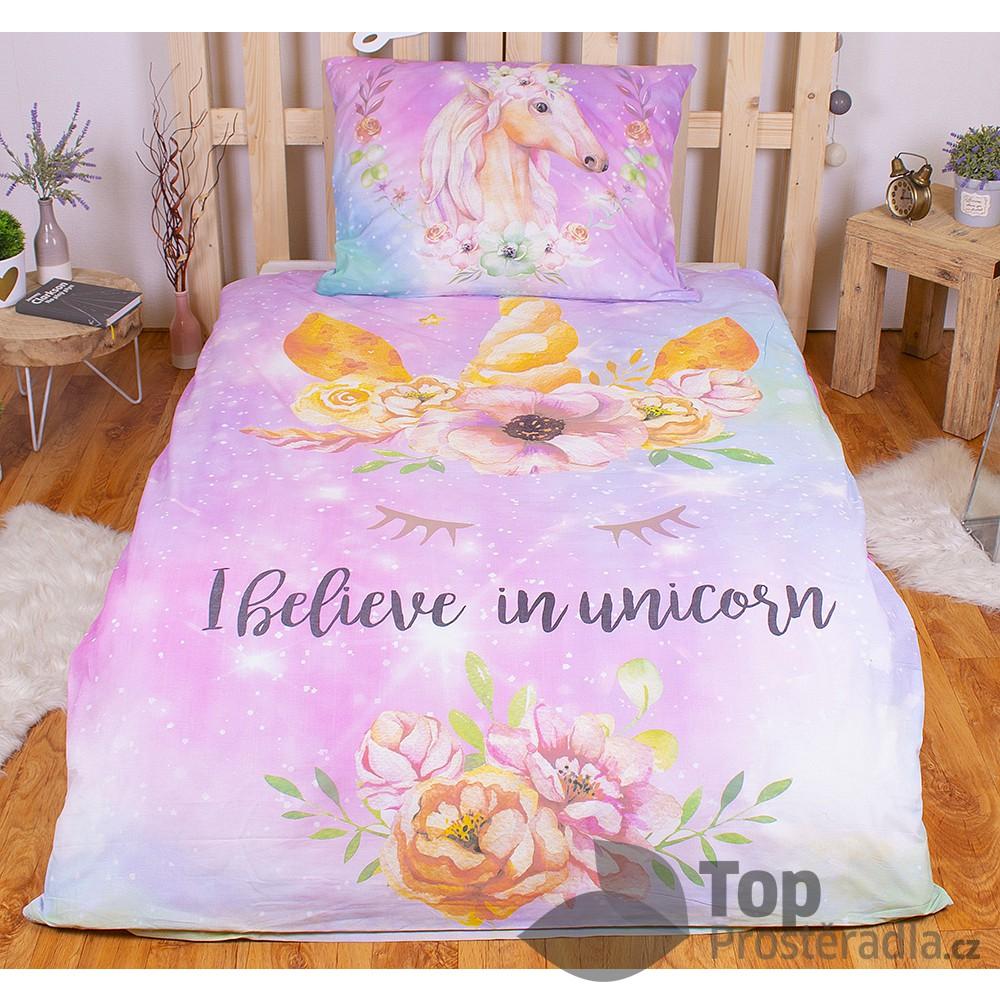 TOP Bavlněné povlečení 140x200+70x90 Unicorn Pink