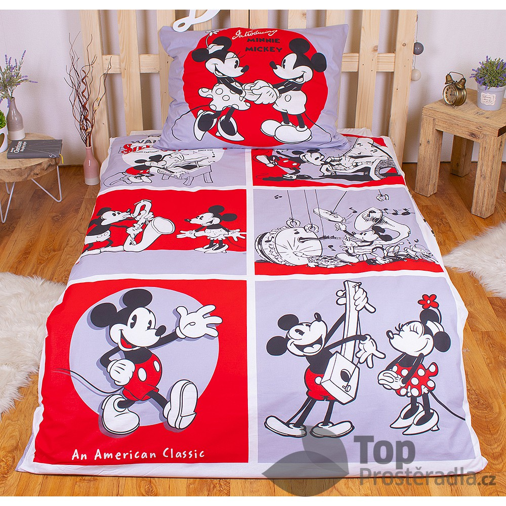 Bavlněné povlečení 140x200 70x90 Mickey & Minnie Classics