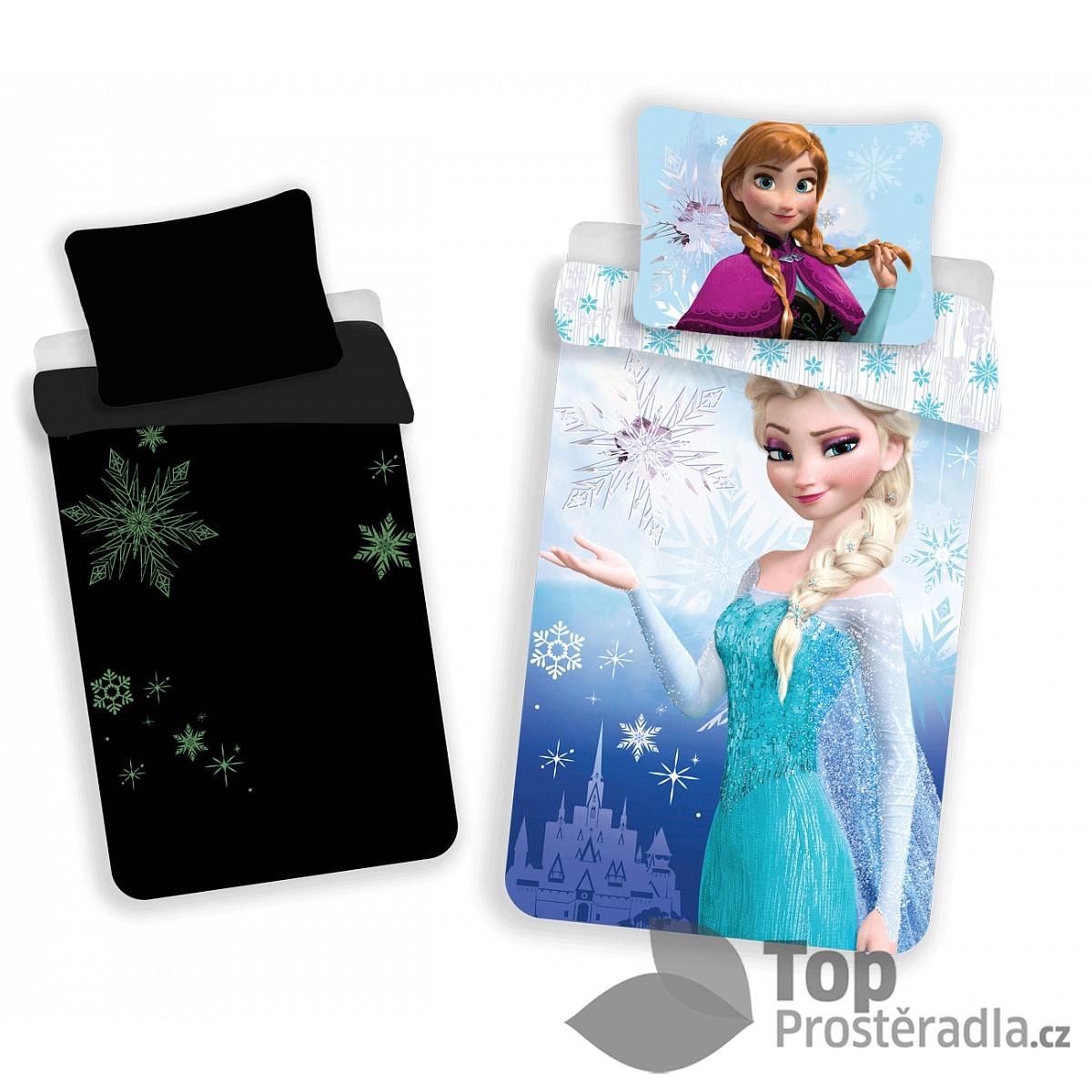 Dětské bavlněné povlečení 140x200 70x90 Frozen Elsa & Anna svítící