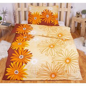 Krepové povlečení ECONOMY 140x200+70x90 - Květy oranžové
