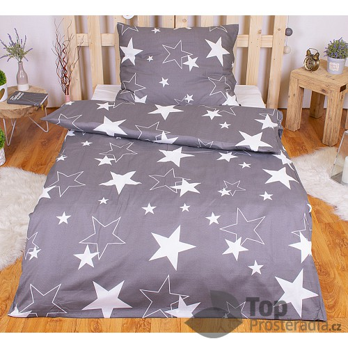 Polybavlna povlečení PREMIUM 140x200+70x90 - Grey stars