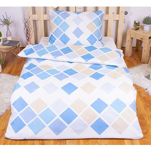 Polybavlna povlečení PREMIUM 140x200+70x90 - Kary modré