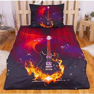 3D povlečení 140x200 + 70x90 - Ohnivá kytara