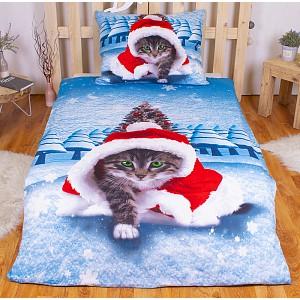 3D povlečení 140x200 + 70x90 - Vánoční kotě