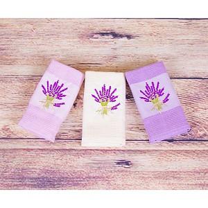 Lavender dárkový set - vaflové utěrky 3ks