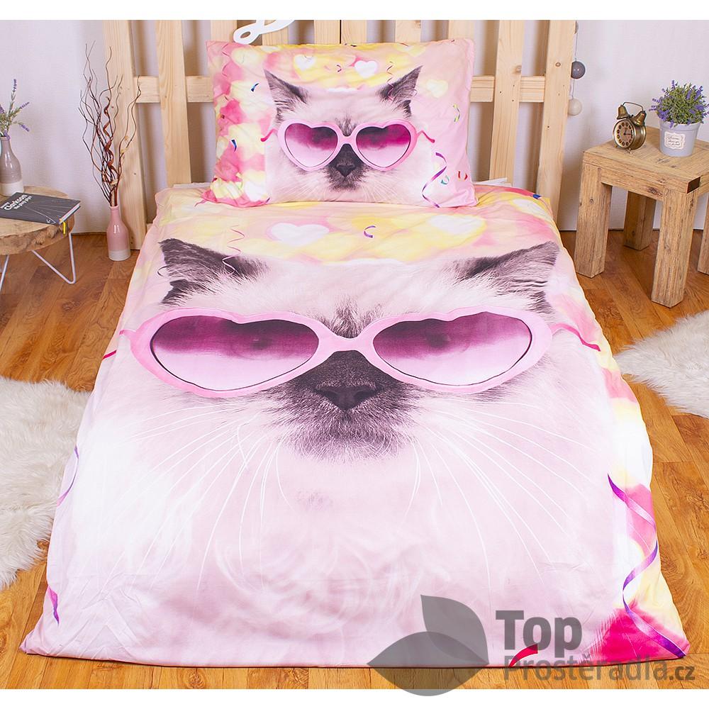 TP 3D povlečení 140x200 + 70x90 - Crazy cat