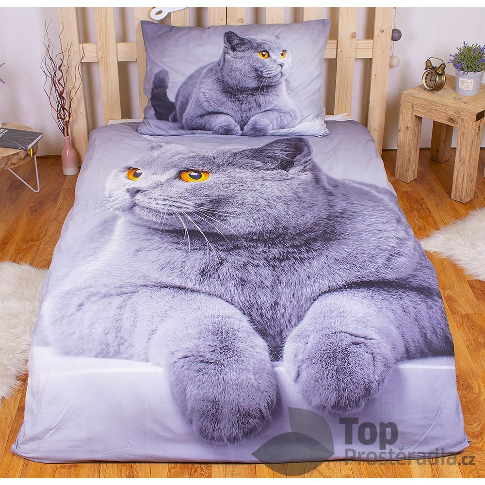 TP 3D povlečení 140x200 + 70x90 - Grey cat