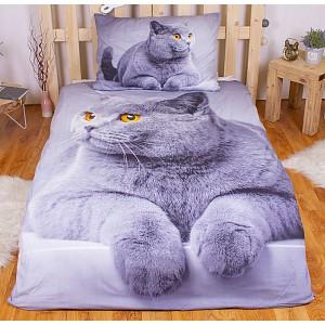 3D povlečení 140x200 + 70x90 -  Grey cat