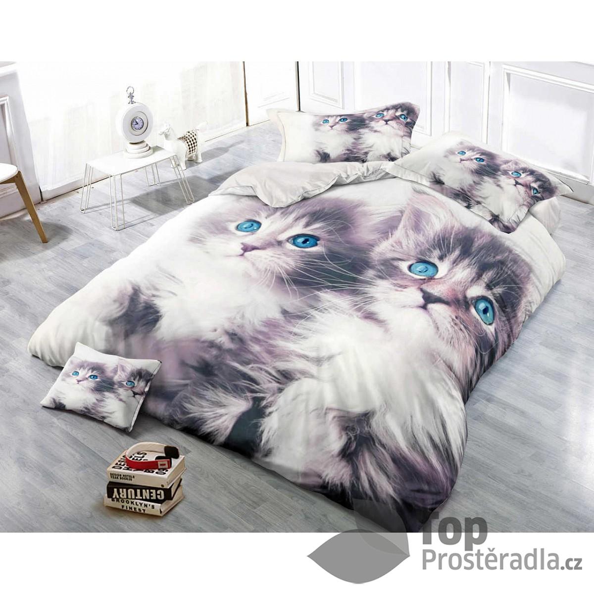 TOP 3D Povlečení 140x200 70x90 Kočky Modroočky