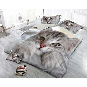 3D Povlečení 140x200+70x90 Kočka Tlapka