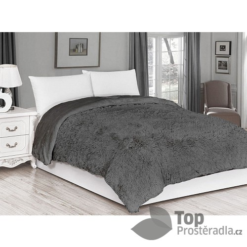 Luxusní deka s dlouhým vlasem 150 x 200 - Šedá