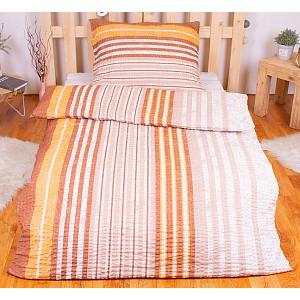 Krepové povlečení PREMIUM 140x200+70x90 - Brown stripes