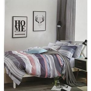 Bavlněné povlečení 140x200+70x90 Pink - blue stripes
