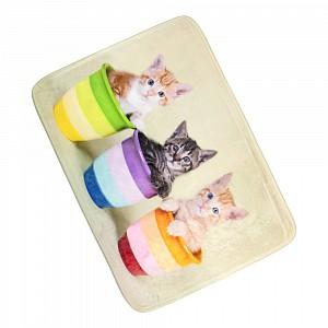 3D Podlahová předložka 50x70 Tři koťata