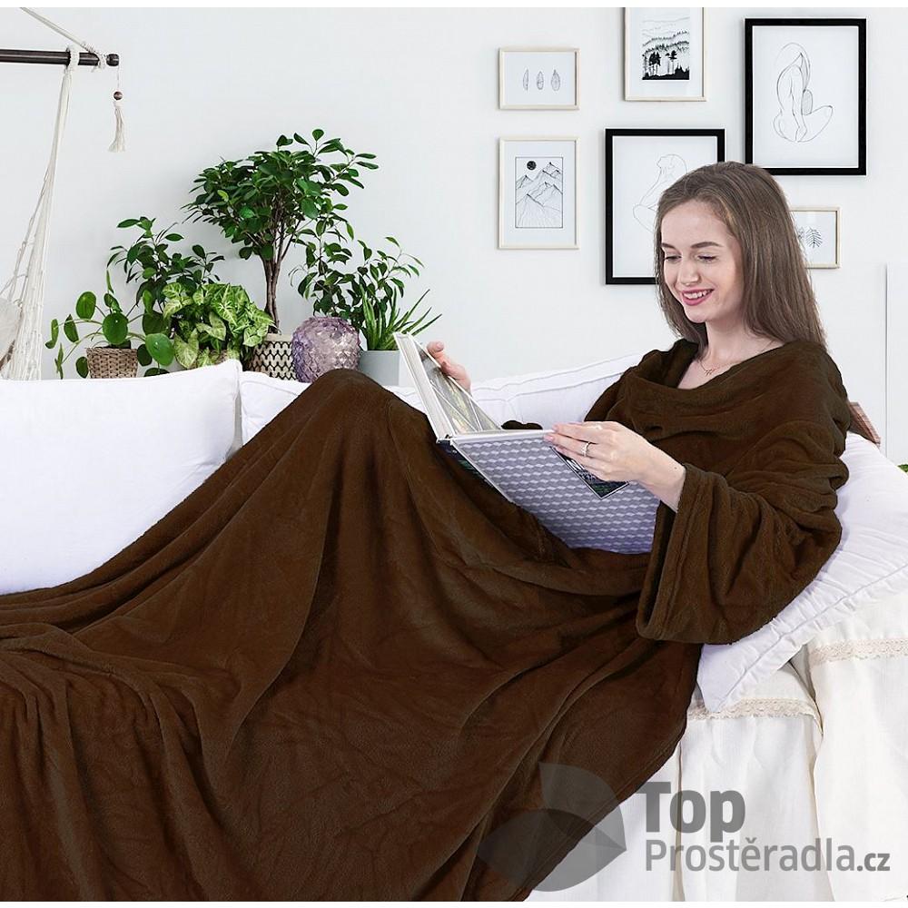 TOP Mikroflanelová televizní deka Lazy 150x180 Hnědá