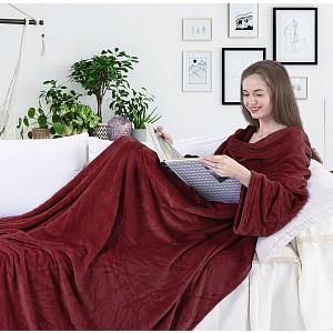 Mikroflanelová televizní deka Lazy 150x180 - Bordó