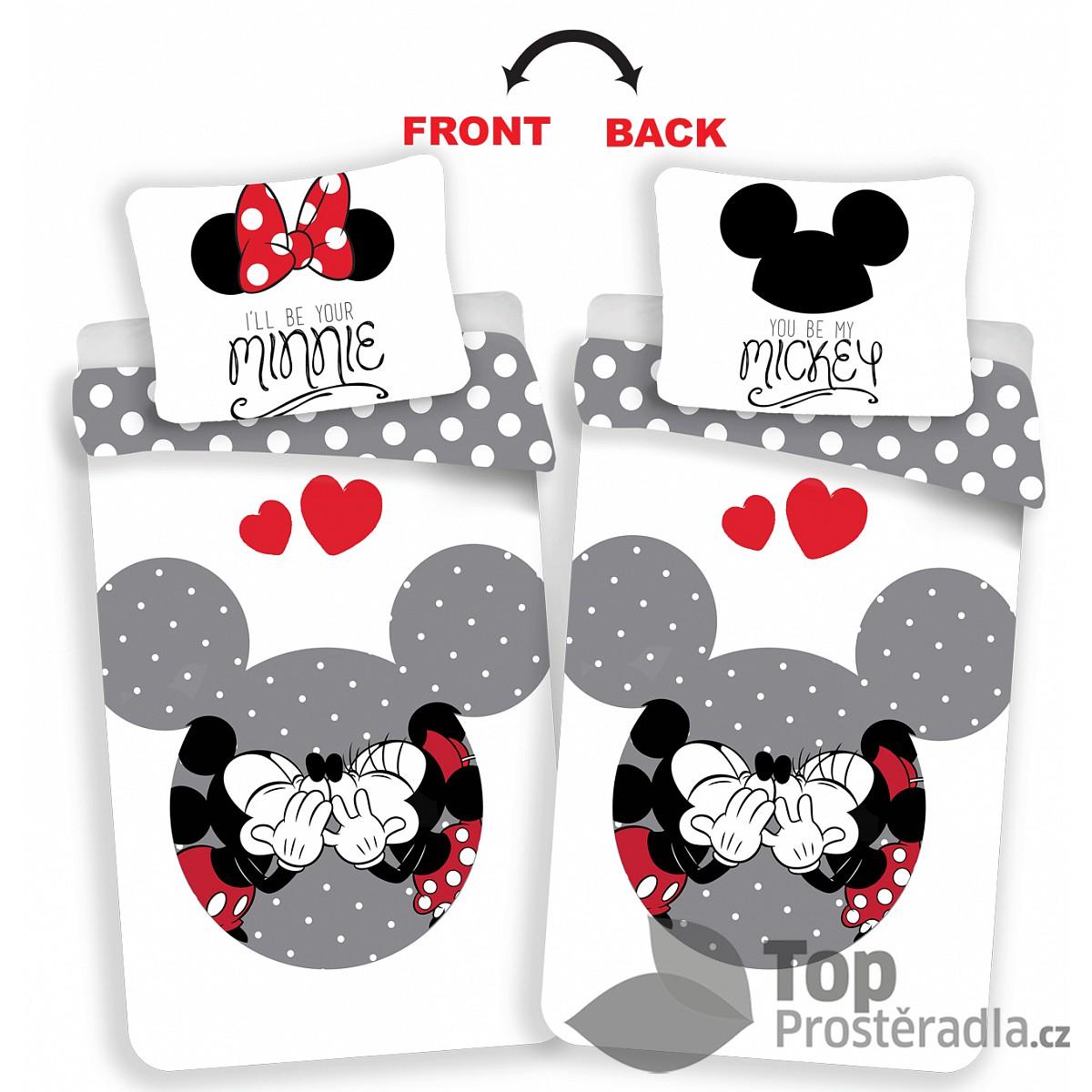 TOP Bavlněné povlečení 140x200+70x90 Mickey & Minnie Grey Love