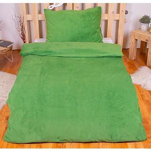 Jednobarevné mikroplyšové povlečení 70x90+140x200 - Zelená