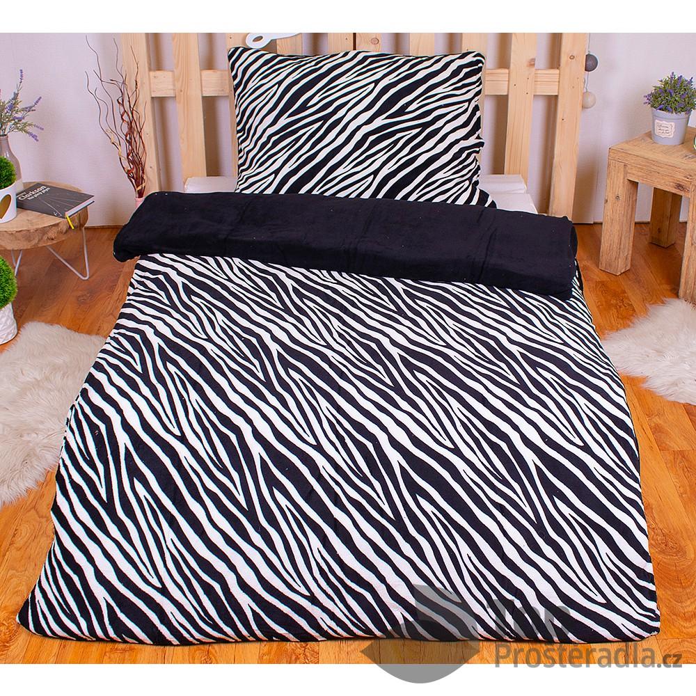 TOP Mikroplyšové povlečení PRIME 70x90+140x200 - Zebra