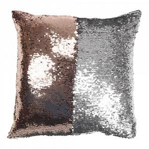 Povlak na polštářek s flitry 40x40 Růžová měď/stříbrná