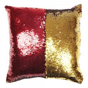 Povlak na polštářek s flitry 40x40 Červená/zlatá