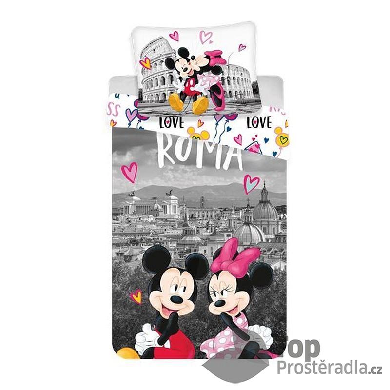 TOP Bavlněné povlečení 140x200+70x90 Mickey a Minnie v Římě