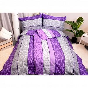 Bavlněné povlečení economy 220x200+70x90 - Wild stripes fialové