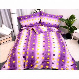 Bavlněné povlečení economy 220x200+70x90 - Squares purple