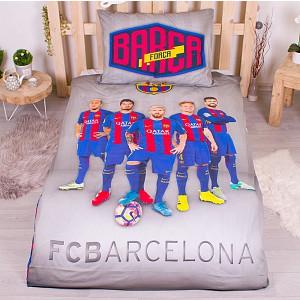 Bavlněné povlečení 140x200+70x90  -  FC Barcelona šedé