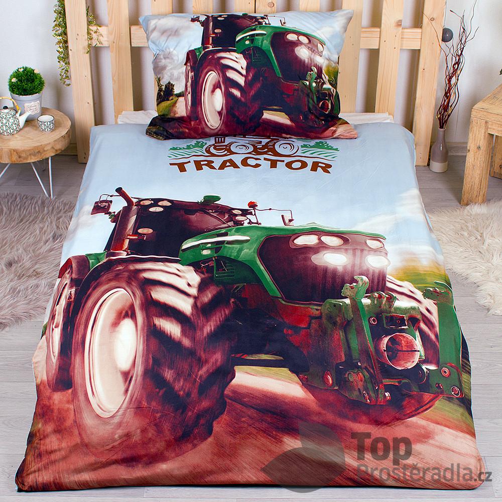 TP 3D povlečení 140x200 + 70x90 - Traktor green