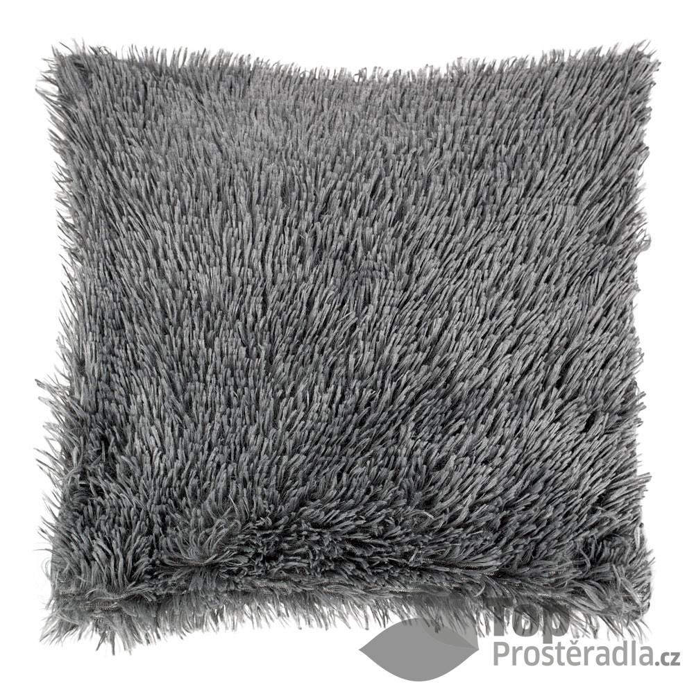 Levně TOP Luxusní povlak na polštářek s dlouhým vlasem 40x40 - Tmavě šedá